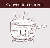 Diagram illustrer comment la chaleur est transférée dans un pot de ébullition Photographie stock libre de droits