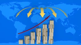 Diagram of increasing exports in world trade Royalty Free Stock Photography