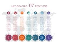 Diagram info graphics. Vector template 7 positions Stock Photos