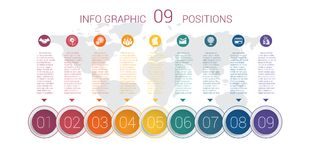 Diagram info graphics. Vector template 9 positions Royalty Free Stock Photo