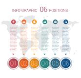 Diagram info graphics. Vector template 6 positions Stock Images