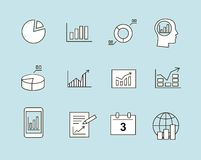 Diagram and infographic icons. Business charts  Infographic analysis, diagrams icons Stock Photography