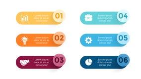 Diagram infographic pappers- pilar för vektorn, baner, etiketter grafen, klistermärkepresentationsdiagram Affärsidé med 6 Royaltyfri Foto