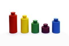 Diagram - kleurrijke gewichten Stock Foto's