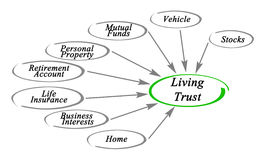 Diagram of Living Trust. What can be included to Living Trust Stock Images