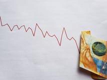 diagram med den stigande ned linjen och den schweiziska sedeln av tio franc royaltyfria foton