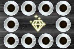 Diagram med kaffe Arkivbilder