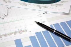 Diagram met pen Stock Foto