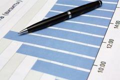 Diagram met pen Stock Fotografie