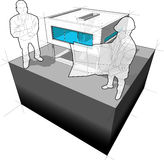 Diagram of a modern house/functionalistic villa and architect with happy man standing in front of it Stock Photo