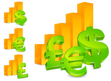 Diagram with money signs Royalty Free Stock Photography