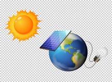 Diagram montrer le soleil et la pile solaire sur terre Photo libre de droits