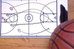 Diagram och boll för snabbt avbrott för basket Royaltyfri Bild