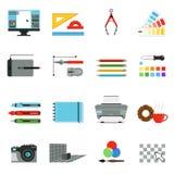 Diagram- och datordesign Olika hjälpmedel för konstnärer och grafiska formgivare Vektorsymbolsuppsättning i tecknad filmstil royaltyfri illustrationer