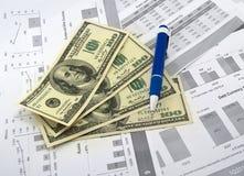 Diagram och dollar royaltyfri bild