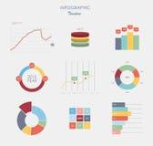 Diagram och grafer för cirkeldiagram för stång för prick för beståndsdelar för marknad för affärsdata sänker design Royaltyfria Bilder