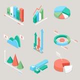 Diagram- och grafstatistikbeståndsdelar Finansanalys Räknemaskin och diagram på vitbakgrund vektor illustrationer