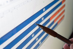 Diagram och penna Fotografering för Bildbyråer