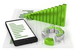 Diagram och Smartphone Arkivfoto