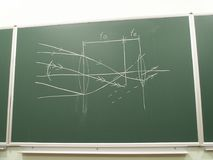 Diagram of optical lenses. A chalk diagram on a school board of positive converging optical lenses royalty free stock photo