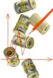 Diagram på pengarbakgrundsnärbild Arkivbilder