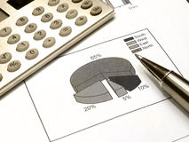 Diagram, pen and calculator (sepia) Stock Image