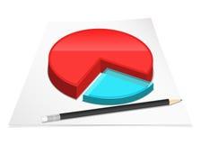 Diagram with pencil. Vector illustration Stock Photos