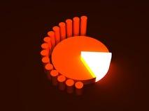 Diagram pie. Graph diagram orange  pie and neon Royalty Free Stock Images