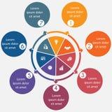 Diagram 7 processus cycliques, cercles étape-par-étape et colorés dans a Photographie stock