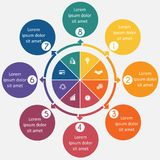 Diagram 8 processus cycliques, cercles étape-par-étape et colorés dans a Photos stock