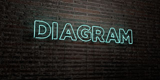 DIAGRAM -Realistic Neon Sign on Brick Wall background - 3D rendered royalty free stock image Stock Photo