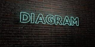 DIAGRAM - realistiskt neontecken på bakgrund för tegelstenvägg - 3D framförd fri materielbild för royalty Arkivfoto