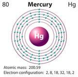 Diagram representation of the element mercury. Illustration Stock Photo