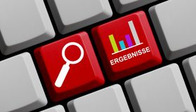 Find results online german. Diagram with results online in german language Royalty Free Stock Photography