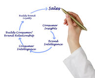 Diagram of sales Stock Image