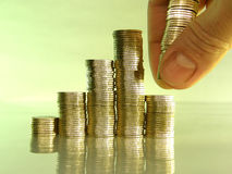 Diagram se composer des piles des pièces de monnaie Image libre de droits