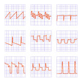 Diagram. Set of nine different graphs.Diagrams of oscilloscope on checkered paper Stock Photo