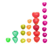 Diagram shaped from cherries and strawberries Stock Image