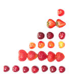 Diagram shaped from cherries and strawberries Royalty Free Stock Photos