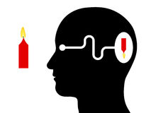 Diagram showing visual perception in a human. Diagram silhouette of head showing visual perception in human with the brain receiving inverted image through the stock illustration
