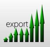 Diagram som illustrerar exporttillväxt, makroekonomiskt begrepp Arkivbild