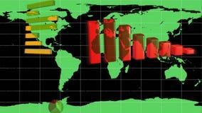 Diagram som visas på en världskarta royaltyfri illustrationer