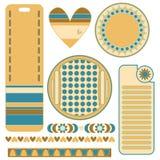 Diagram ställde in med färgrika etiketter, etiketter, hjärta och klippningar royaltyfri illustrationer