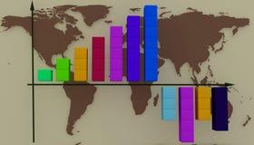 Diagram su un fondo le mappe del mondo Fotografie Stock Libere da Diritti