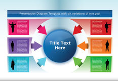 Diagram Template. With six options pointing to one element at the middle Stock Images