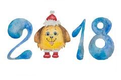 Diagram till det nya året av den blåa och fluffiga hunden i ett rött lock och kängor målade med vattenfärgen Fotografering för Bildbyråer