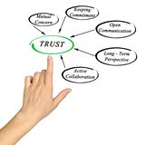 Diagram of trust. Presenting important components of trust stock photo