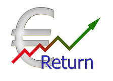 Diagram upwards with color gradient and euro symbol Stock Photos