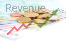 Diagram upwards revenue with color gradient and euro background Stock Images