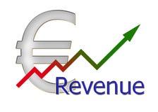 Diagram upwards revenue with color gradient and euro symbol Stock Image